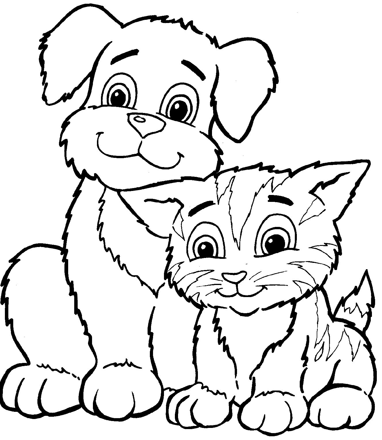 Cats And Dogs Coloring Pages For Kids Free One Of The Dog Cat