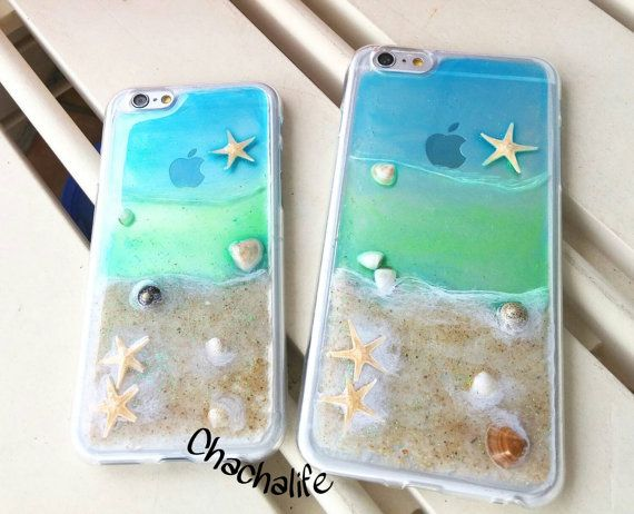 Hand Painted Beach Phone Case Natural Sea Shell Phone Case