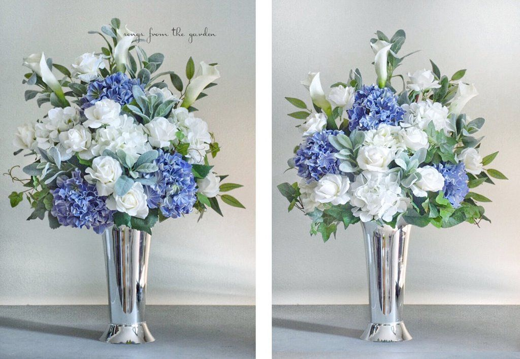 Ceremony Arrangements Set Of Two Blue White Grey Silver Hydrangea Roses Calla Lilies Blue Flower Arrangements Ceremony Arrangement Flower Arrangements