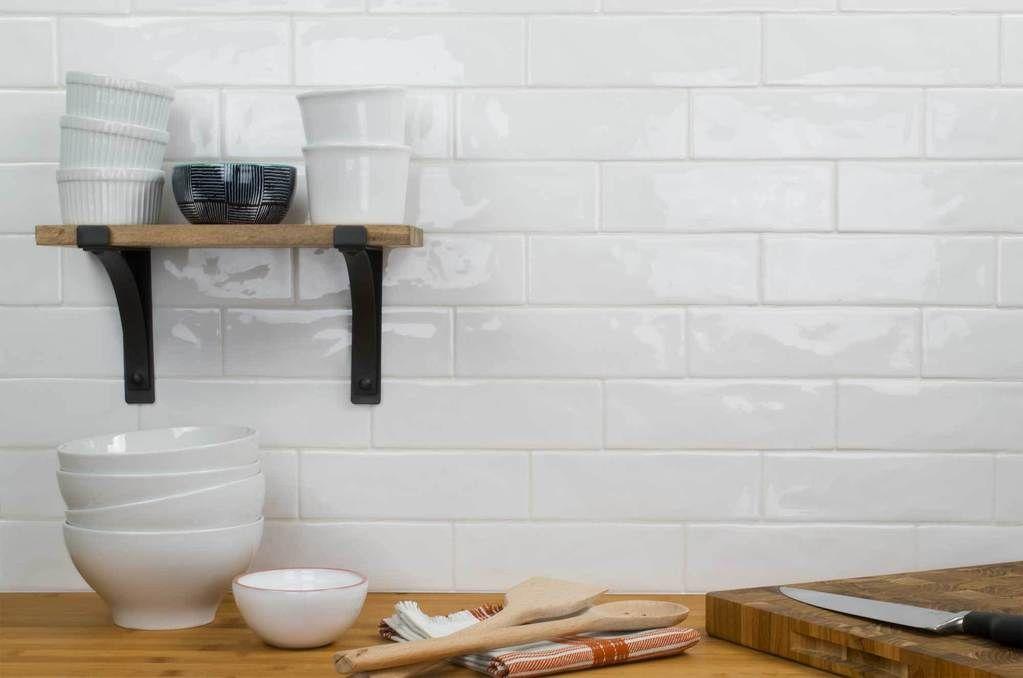 Mto0124 Classic 2x8 Subway White Glossy Ceramic Tile White Tile Kitchen Backsplash Small White Kitchens White Kitchen Tiles