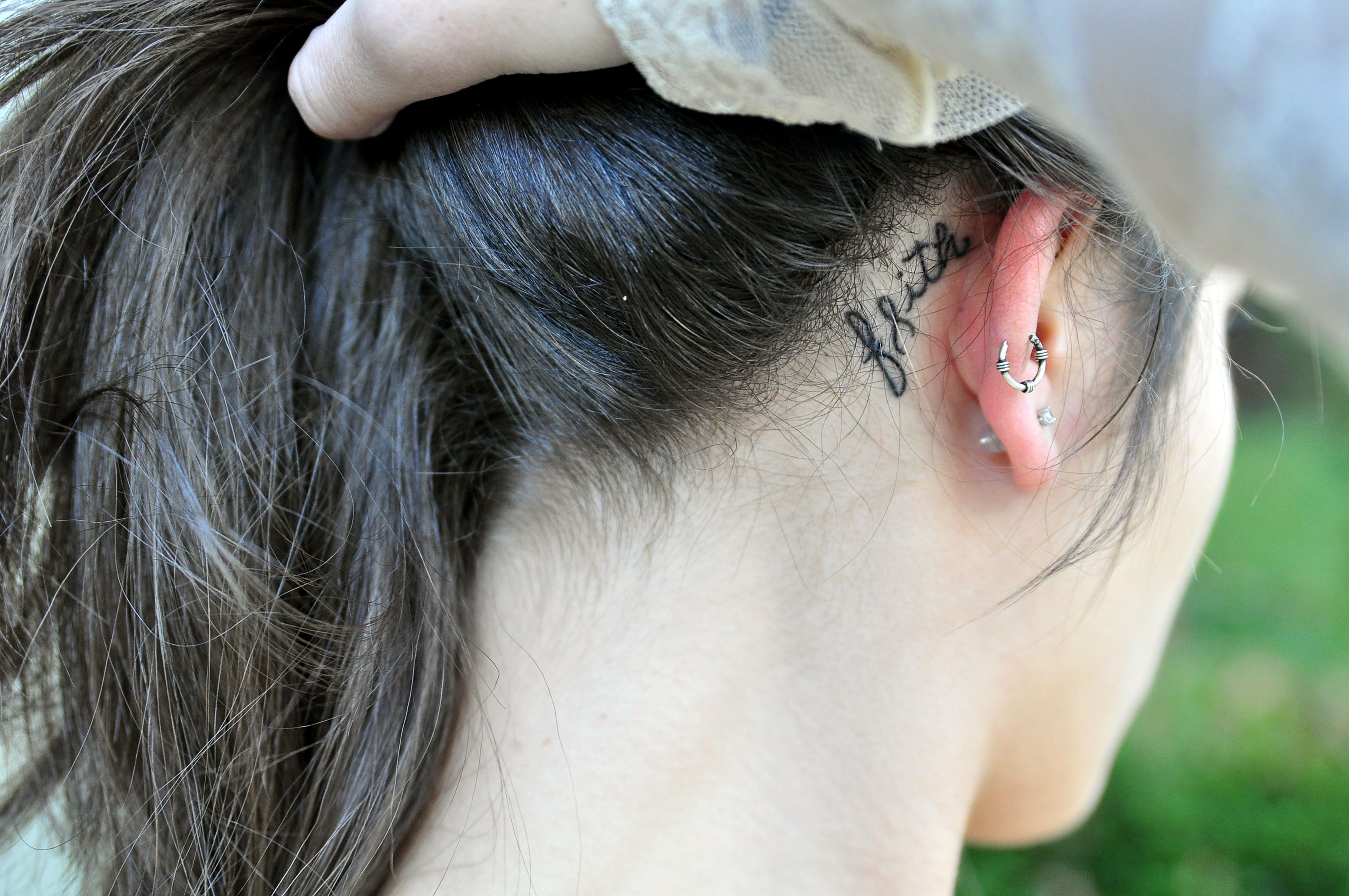 Tattoo Faith Behind The Ear Tattoo Ink Cancer Ribbon Tattoo Behind