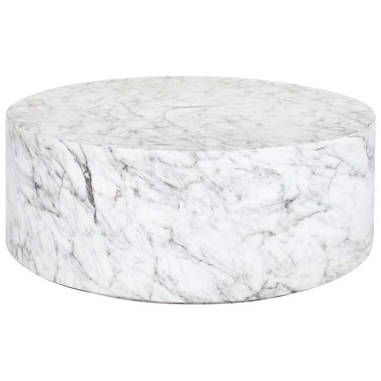 Round Carrera Marble Coffee Table In White Marble Coffee Table