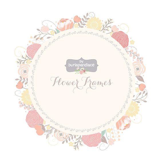 Wedding Floral Wreath Clip Art, Hand Illustrated Digital Flowers ...