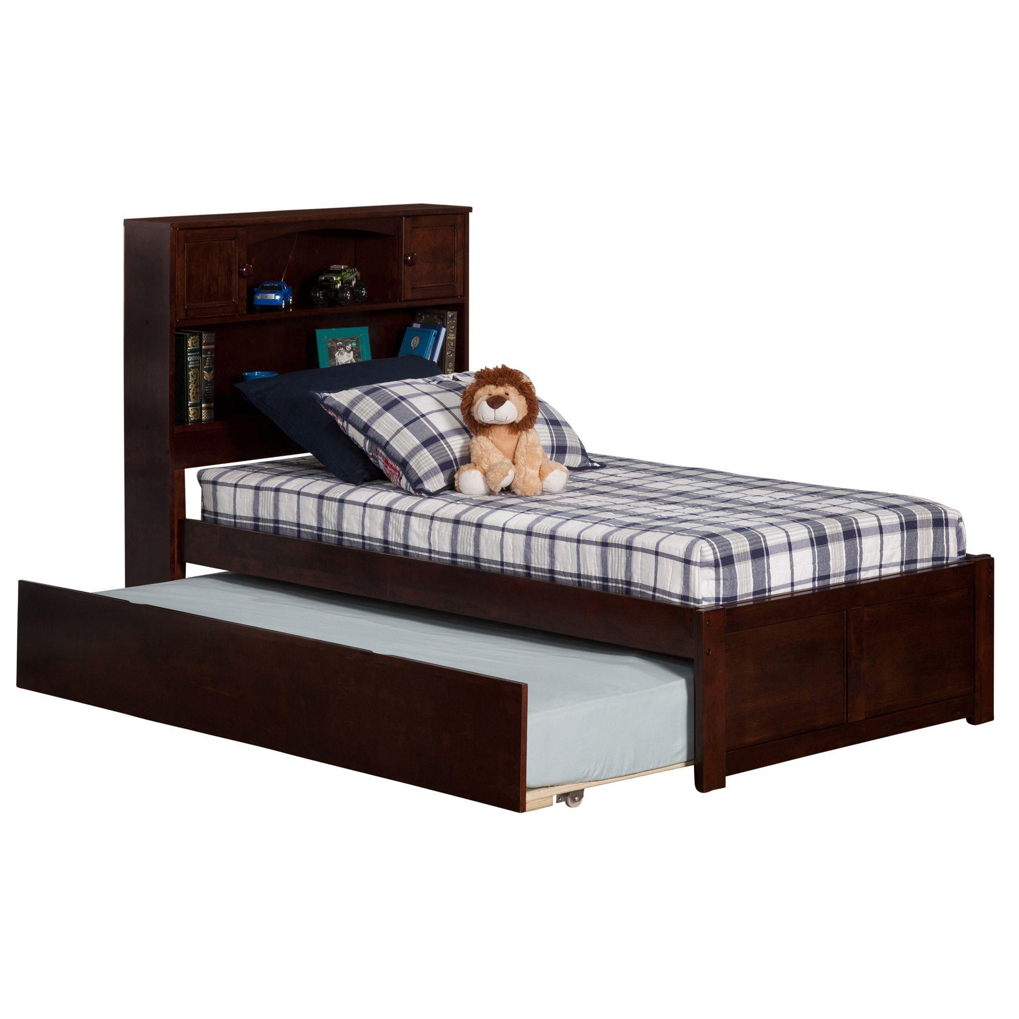 Atlantic \'Newport\' Walnut-finish Wood Twin Bed with Flat-panel Foot ...