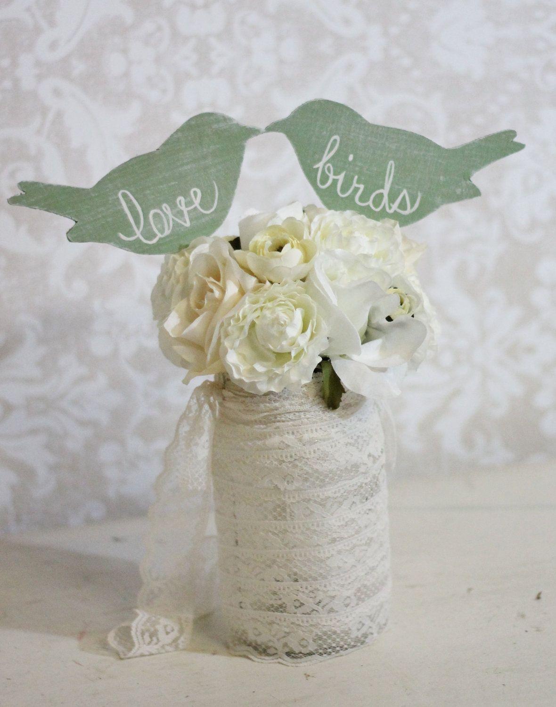 Wedding Cake Topper Love Birds Shabby Chic Wedding Decor (item ...