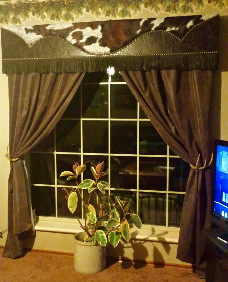 Western Leather Cowhide Window Cornicemade To Order Window Covering Western Decor Ideas Cowboy Fabulous Cus Window Cornices Cowhide Decor Window Coverings #western #curtains #for #living #room