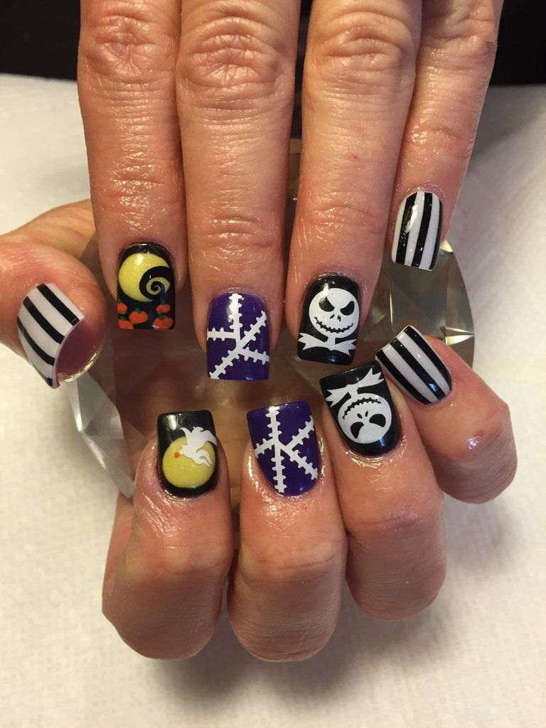 Halloween Nails | Jack Skellington Nails | Nightmare Before ...
