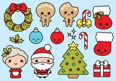 Premium Vector Clipart Kawaii Christmas Cute Chrismas | Etsy