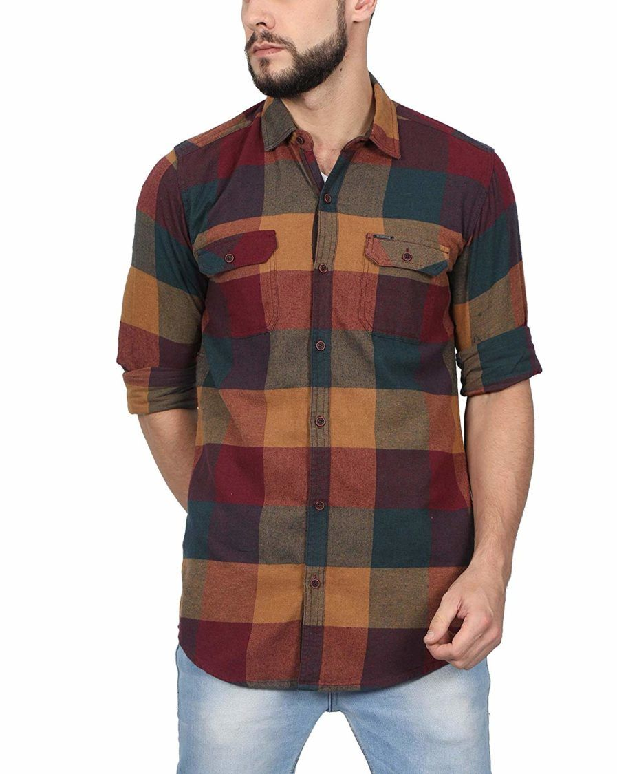 31b9a63e173c North Republic Burgundy Checks Cotton Full Sleeves Shirt
