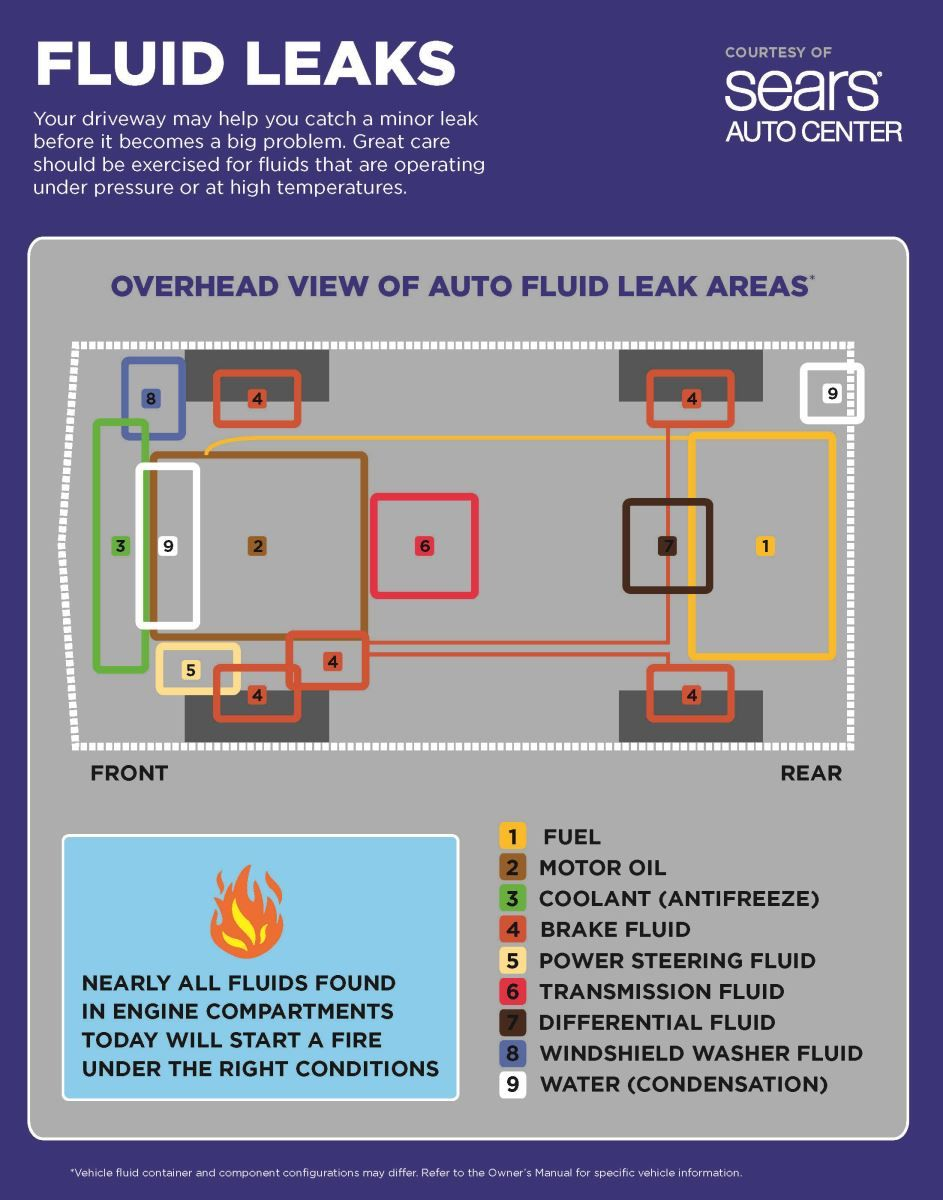 Fluid Leakage Safety Chart Identifying Areas On Your Car That