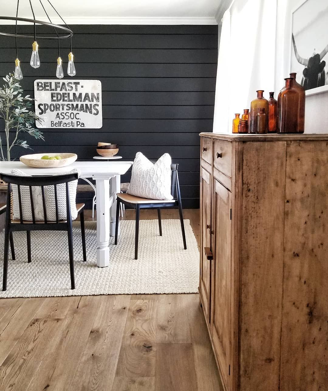 Black Shiplap Wall By Cynthia Harper On Instagram Cynthia Harper Dining Room Accent Wall Black Dining Room Dining Room Walls #paint #living #room #accent #wall