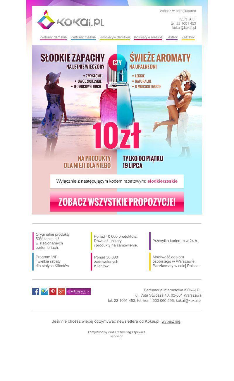 Ciekawy graficznie newsletter, który przygotowaliśmy dla kokai.pl.