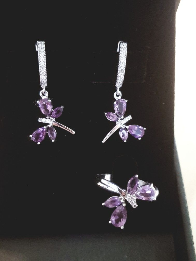 68f5dca49e07 Sterling silver set Butterfly plated with white gold with #ametist ...