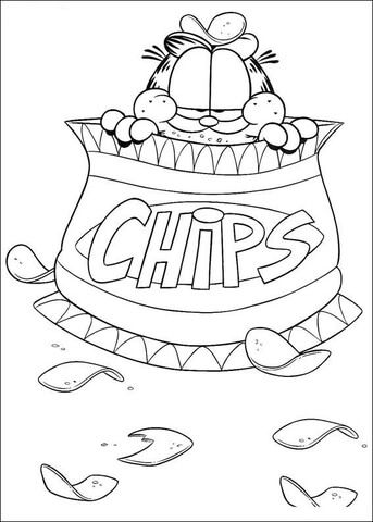 Chips Garfield Coloring page | coloring book pages | Pinterest
