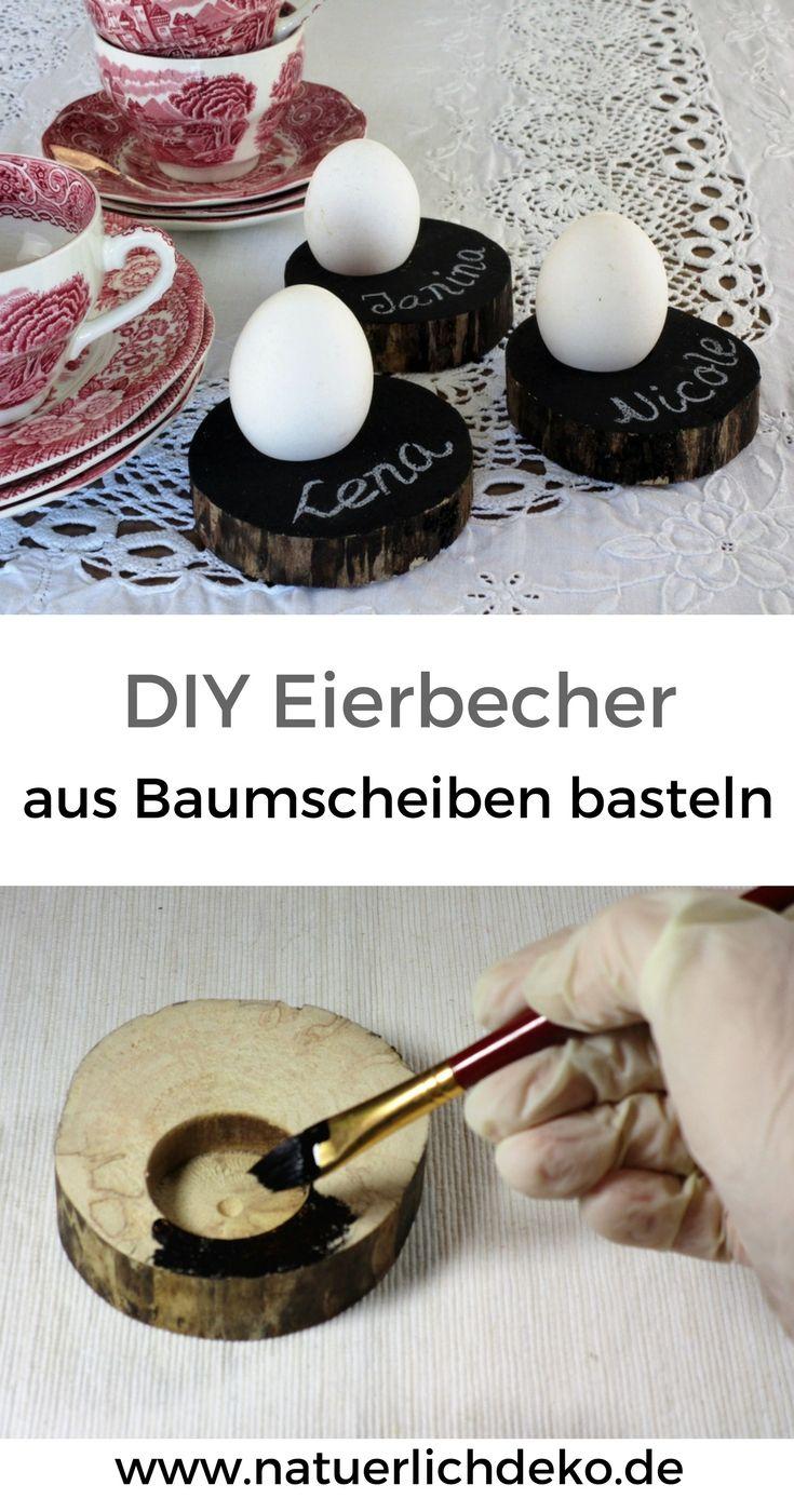Eierbecher aus baumscheiben selber basteln diy osterdekoration und fr hlingsdeko mit - Eierbecher selber basteln ...