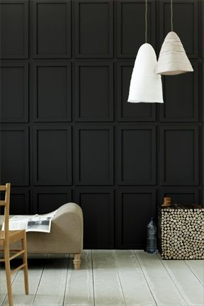 The Decomposition Of Our Living Room Black Walls Wall Paneling Wall Design