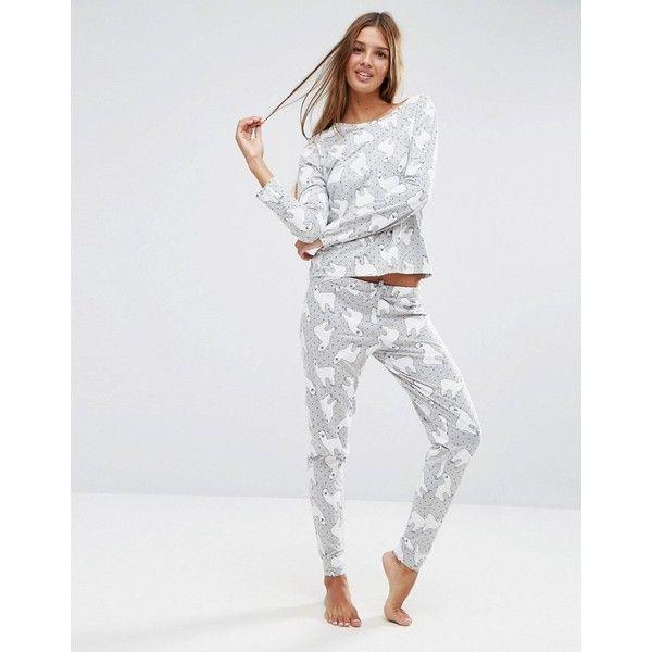 6dfe40160a ASOS Llama Print Long Sleeve T-Shirt   Legging Pajama Set featuring  polyvore