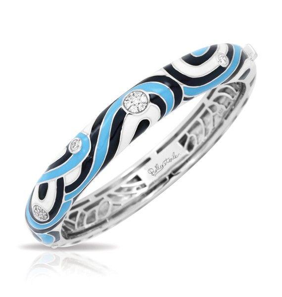 Vortice Blue Bangle by Belle Etoile. 925 Sterling Silver. Fashion Jewelry. Italian Enamel.