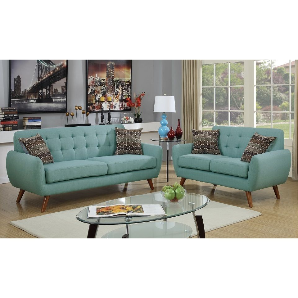 Poundex caserta loveseat and sofa upholstered in polyfiber blue pine