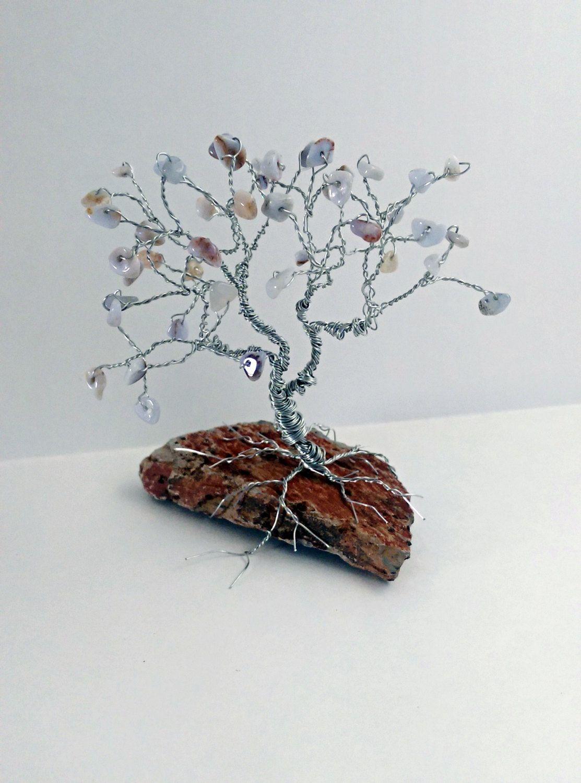 Blue Chalcedony Tree of Life Wire Tree Sculpture / Semi Precious ...