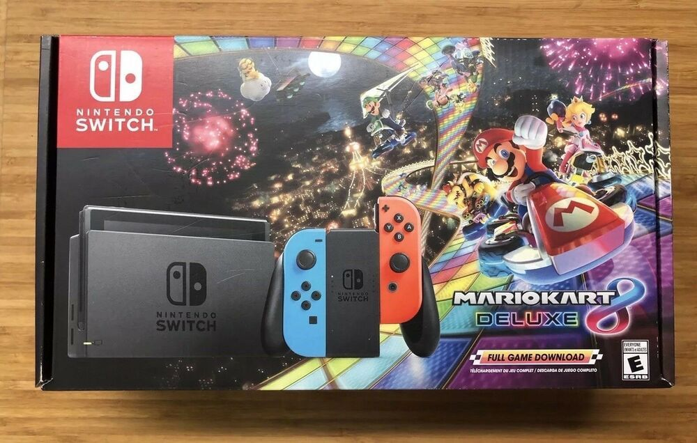 New Nintendo Switch Mario Kart 8 Deluxe Console Bundle Neon Blue Red Joy Cons Nintendoswitch Nintendo Switch Mario Kart 8 Mario Kart Nintendo