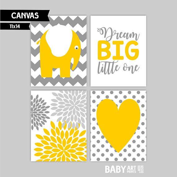 Yellow Grey Nursery canvas wall art prints Elephants Dream | Yellow ...