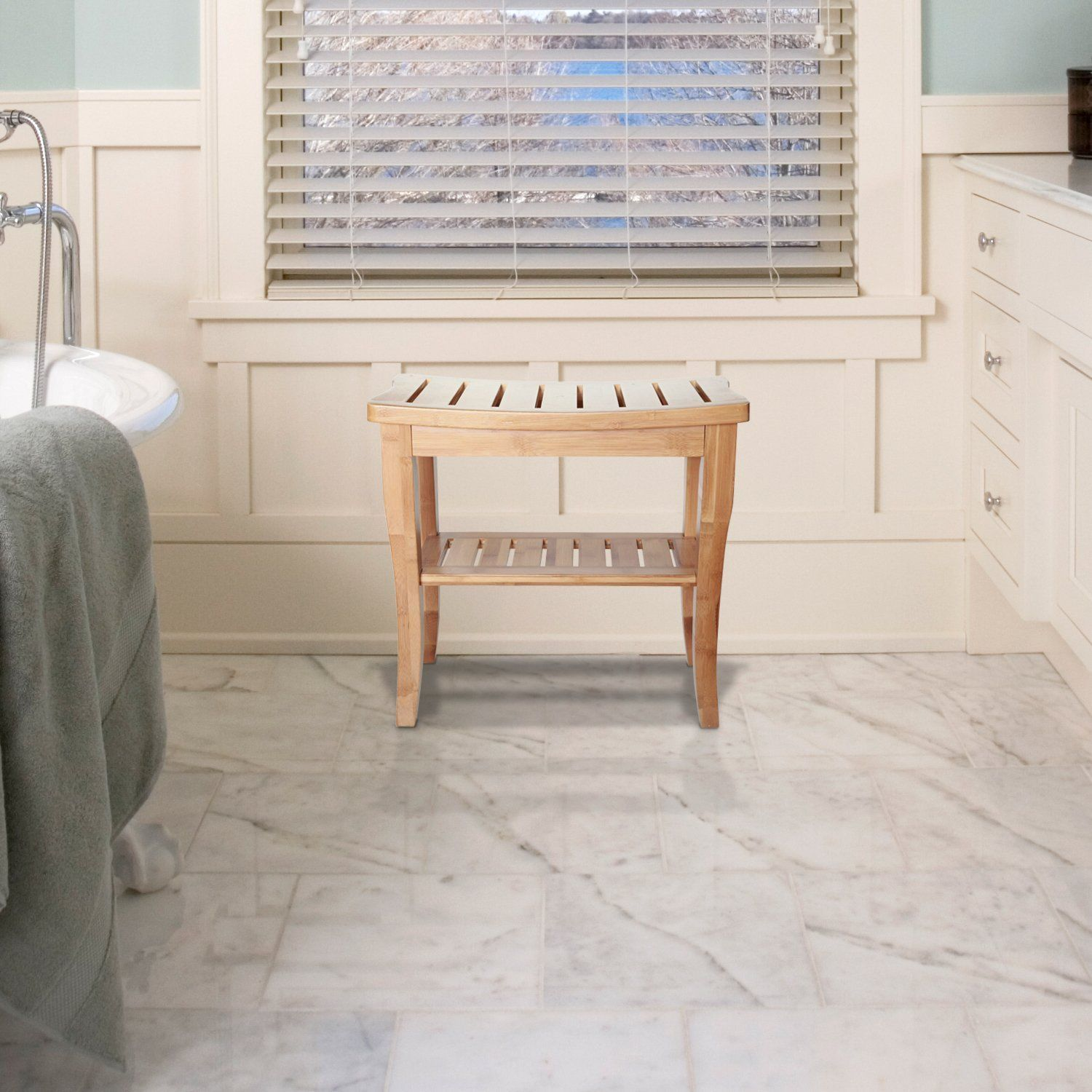 ToiletTree Products Deluxe Bamboo Shower Seat Bench with Storage ...