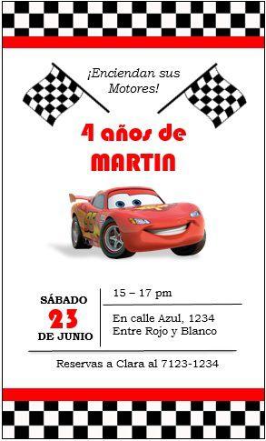 Invitación Cars Party Ideas Cars Theme Invitaciones De