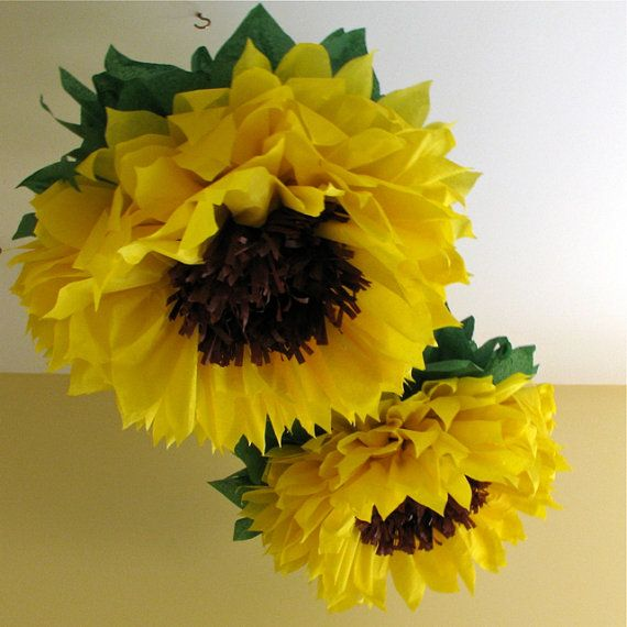 HAPPY SUNFLOWERS. 5 Giant Paper Flowers, yellow, wedding, photo ...