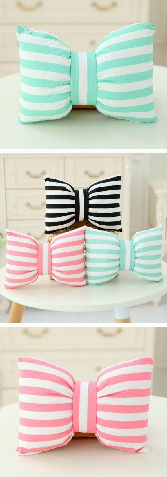 Cute diy room decor pinterest cute stripe bowknot pillows  by wteresa  home decor  pinterest