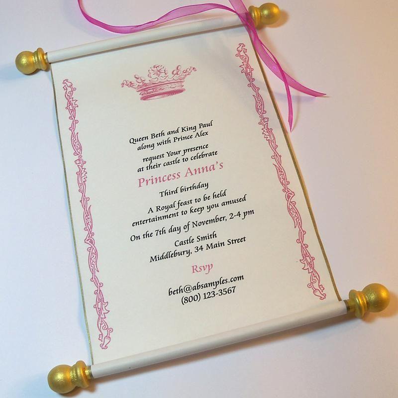 Royal princess invitation scroll in pink and gold princess birthday