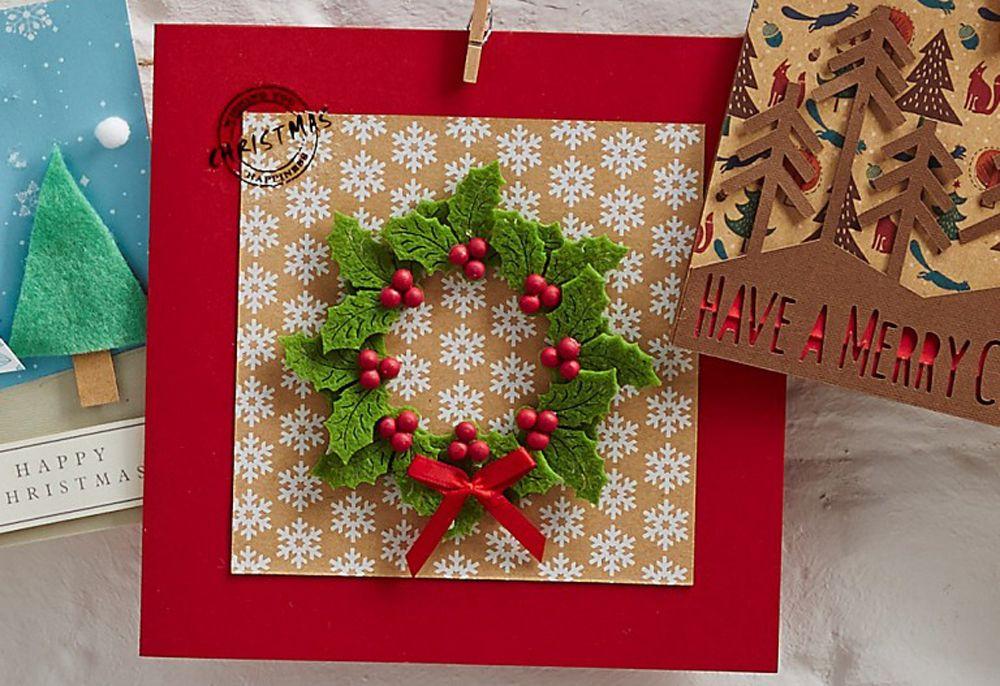 Ideas To Make Christmas Cards Part - 48: How To Make A Felt Holly Christmas Card