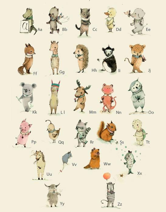 Childrens Wall Art Print Alphabet A3 Poster Animals door holli