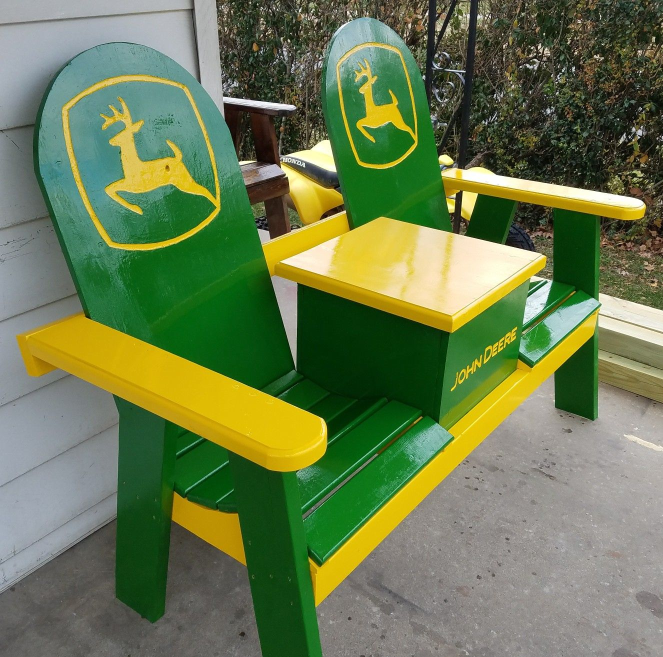John Deere Porch Bench With A Cooler Porch Benches
