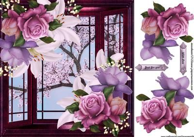 Window with Roses Lilies on Craftsuprint designed by Marijke Kok - Beautiful window with roses and lilies on a oriental flower background, for a gorgeous easy card. - Now available for download!
