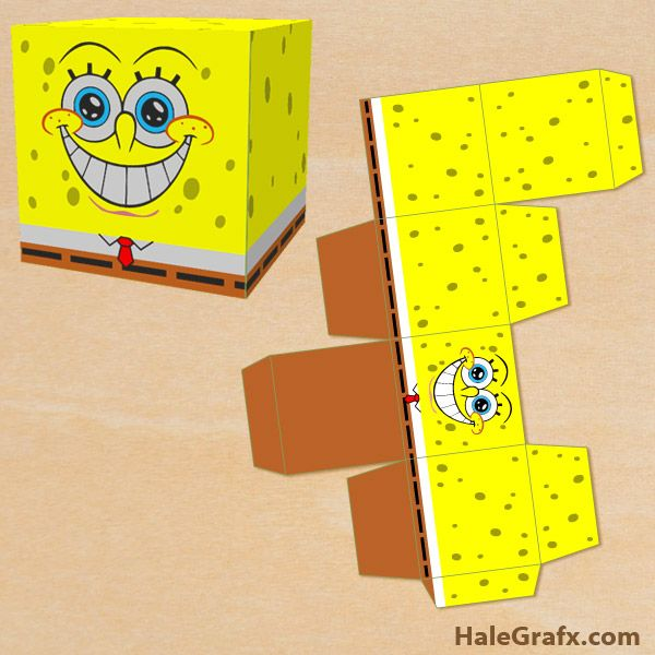 spongebob treat box free printable spongebob squarepants treat box rh pinterest com