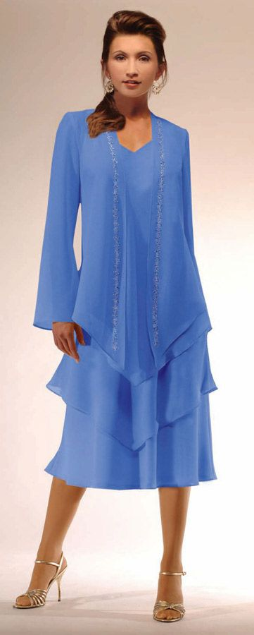 61280d3ce73 Plus size tea length high twist crepe 2 piece jacket dress consisting of  layered dress with long sleeve open jacket with bead trim.