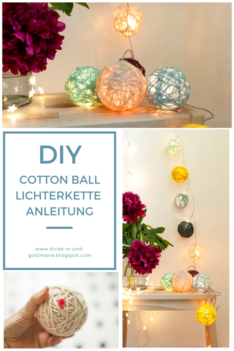 diy cottonball lichterkette selbst machen anleitung diy wolle diy lichterkette diy diy. Black Bedroom Furniture Sets. Home Design Ideas
