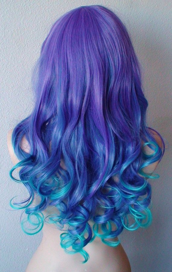 Summer Special Blue Purple Wig Long Wavy Hair With By