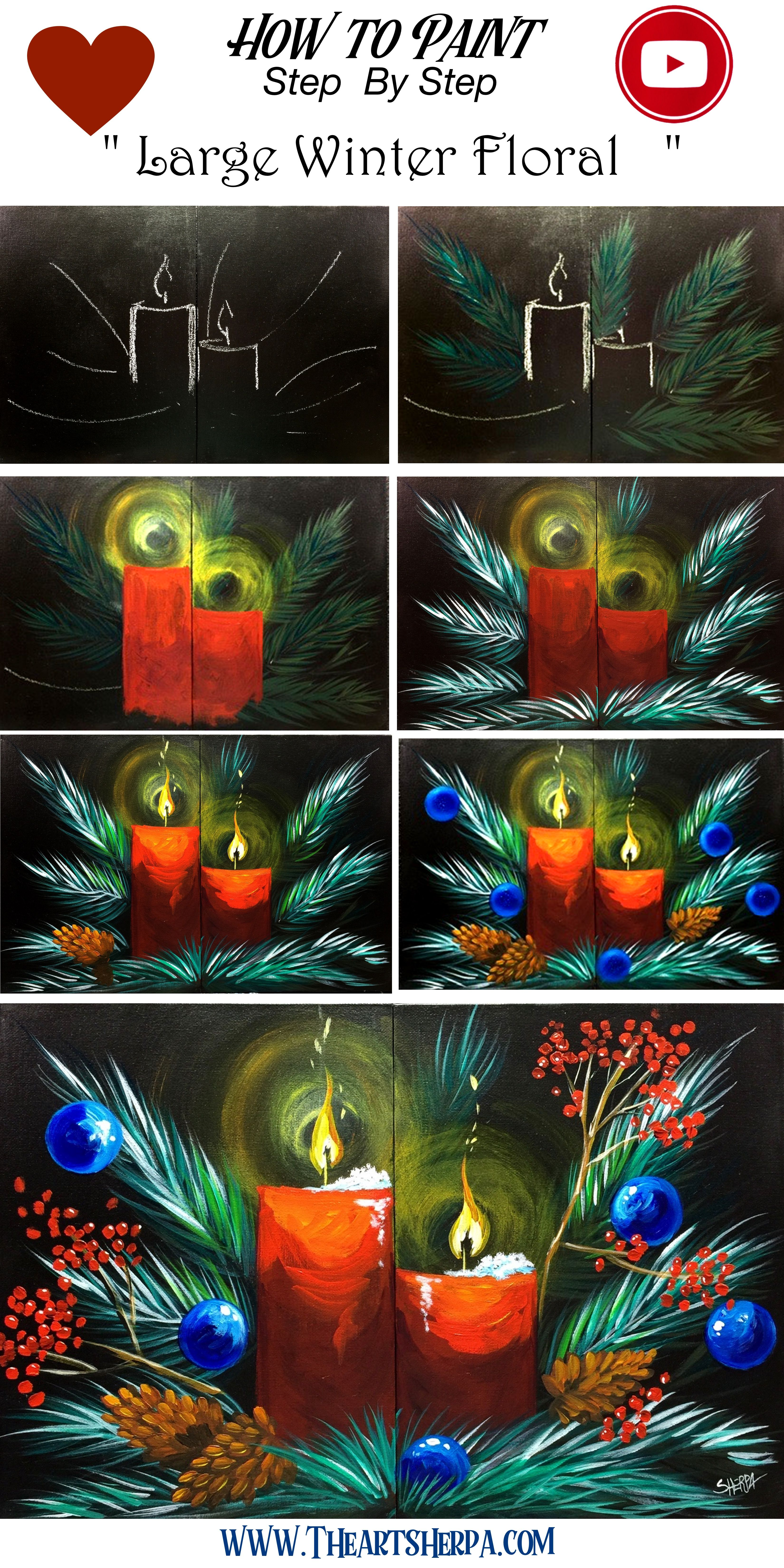 Photo of How to paint Large Canvas  Christmas Still Life Step by step