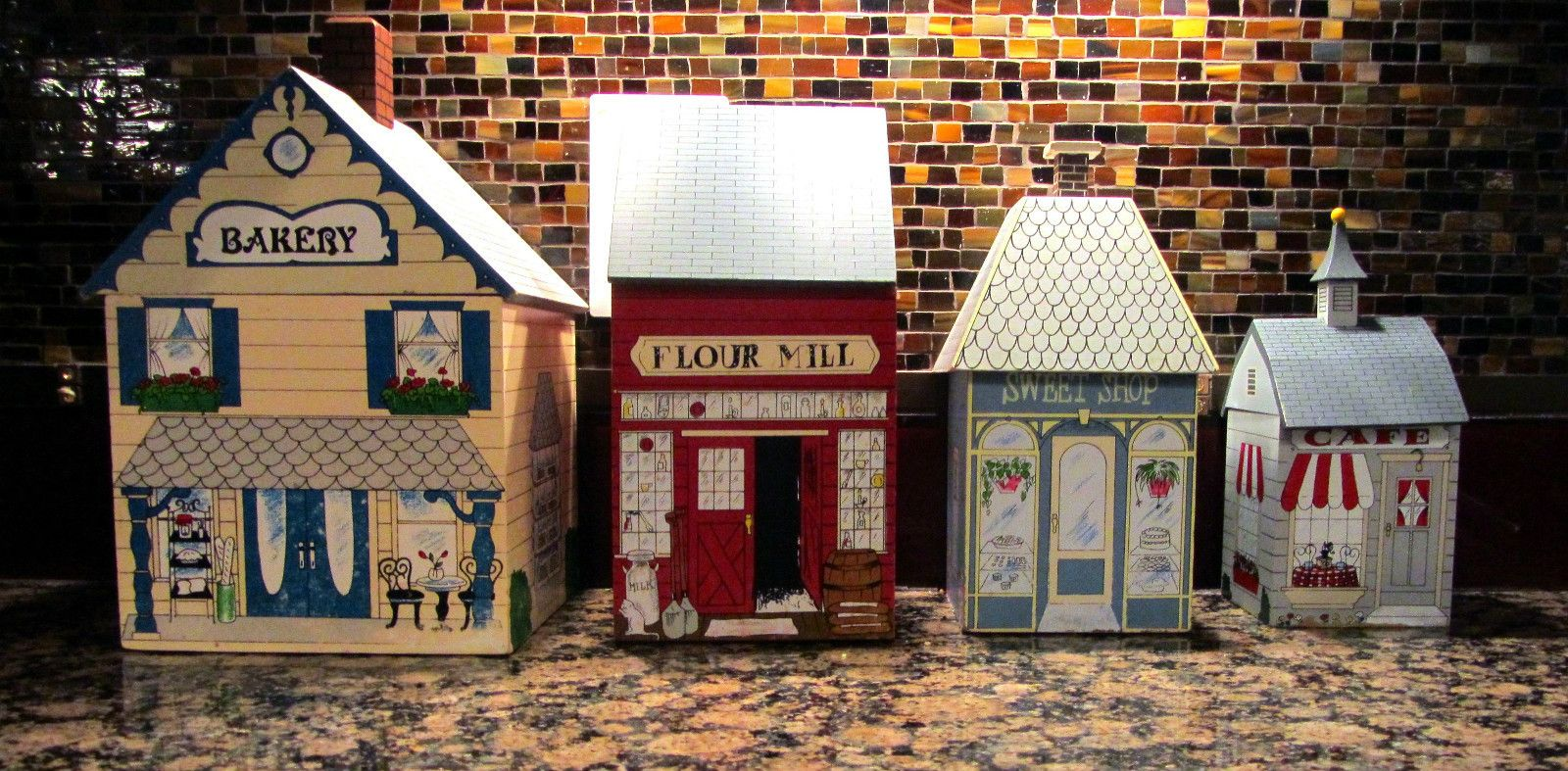 4 piece charming old wooden village shops canister set ebay 4 piece charming old wooden village shops canister set ebay