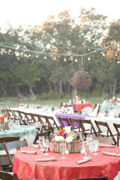 """Long banquet table, flanked by rounds - Great idea for """"head"""" table (wedding party, family)."""