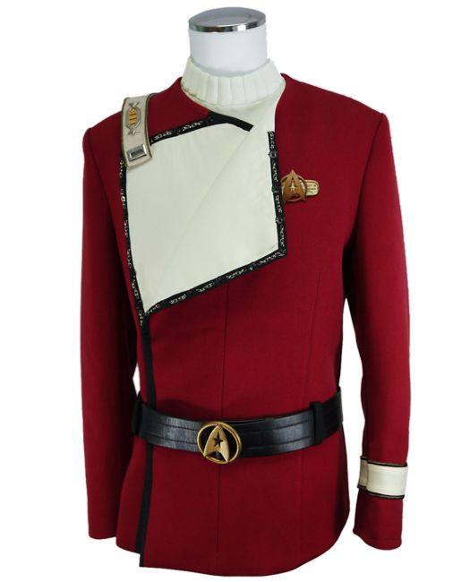 Star Trek Cosplay II-VI Wrath of Khan Starfleet Costume Black Uniform Jacket Set