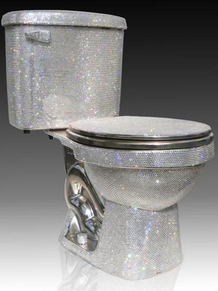 Swarovski crystal toilet. To add a royal flush to your throne ...