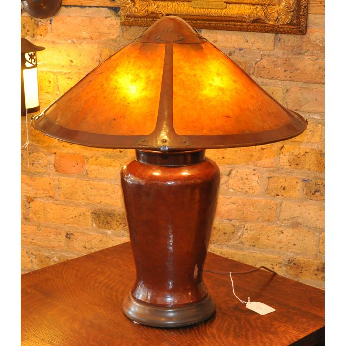 Dirk Van Erp Table Lamp Large Form With Mica Shade Held On A Hammered Copper Base Wood Foot Added Original P Unusual Table Lamps Vintage Lighting Table Lamp