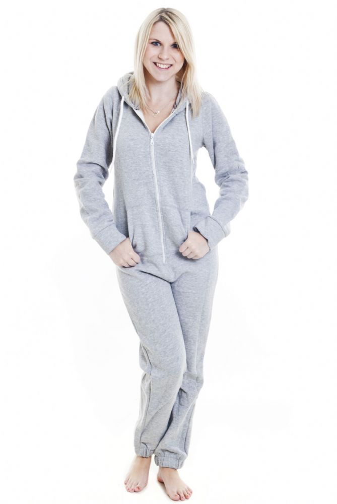 8b2b2a218792 A plain grey hooded adult onesie with white detailing suitable for ...