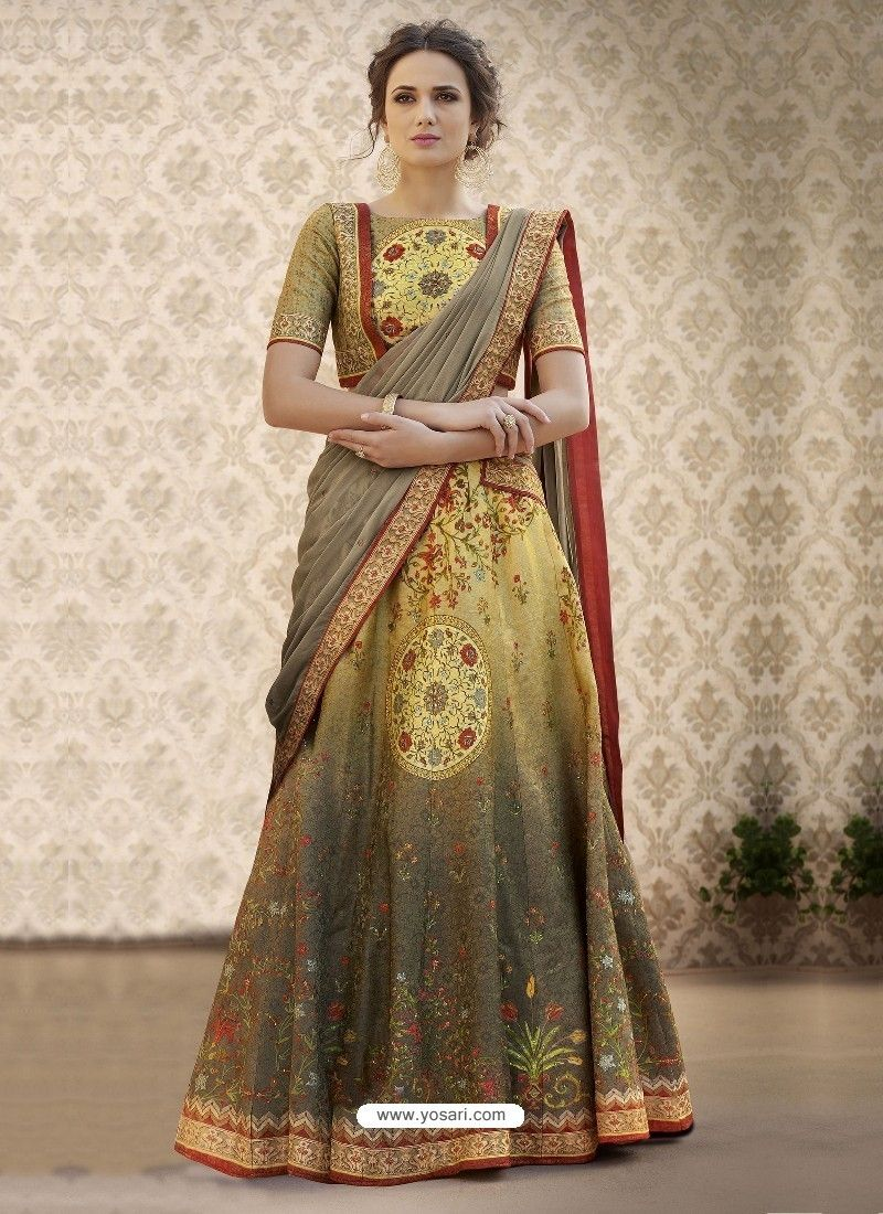 b9a290a3ed Designer Mustard Banarasi Natural Silk Lehenga Choli in 2019 ...
