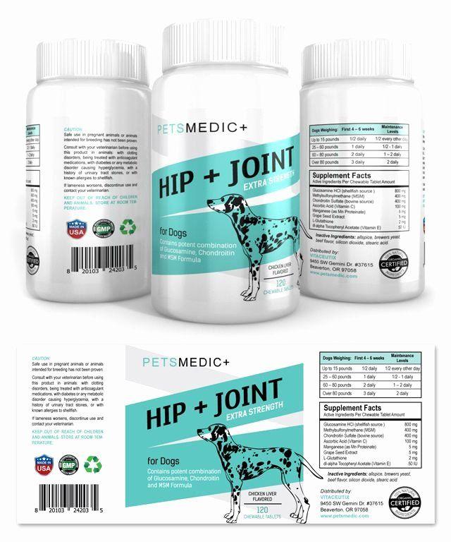 Vitamin Water Label Template Unique Pet Hip Joint Supplement Label Template Label Templates Supplements Packaging Medicine Packaging