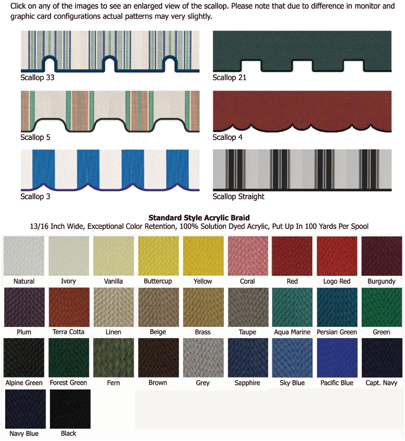 Scallop And Braid Awning Choices By Kohler Awning Pool Tile Awning Scallop