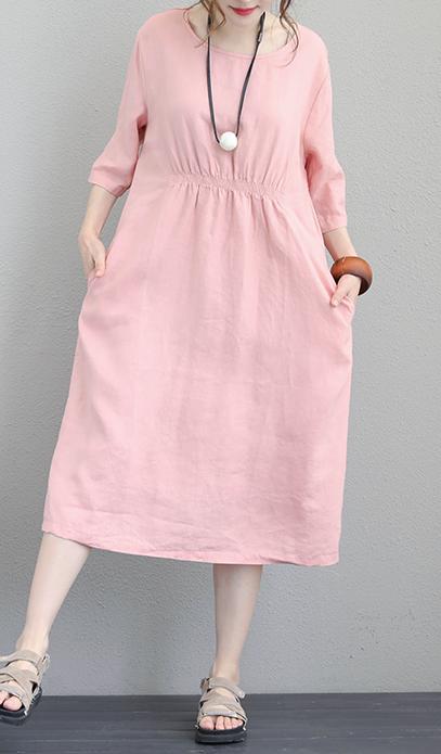 fe7671684d Fine-pink-linen-maxi-dress-plus-size-O-neck-elastic-waist-linen-dress